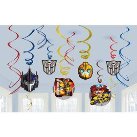Transformers Foil Swirl Hanging Decorations (12 Pack)