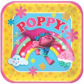 """Trolls 9"""" Square Luncheon Plate (8 Count)"""