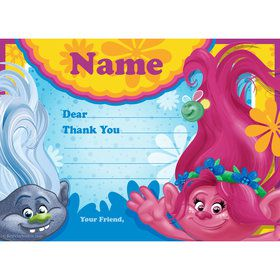 Trolls Party Personalized Thank You (Each)