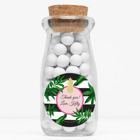 "Tropical Pineapple Personalized 4"" Glass Milk Jars (Set of 12)"
