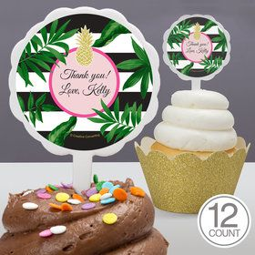 Tropical Pineapple Personalized Cupcake Picks (12 Count)