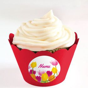 Tulips Personalized Cupcake Wrappers (Set of 24)