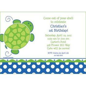 Turtle Party Personalized Invitation (each)