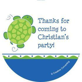Turtle Party Personalized Stickers (sheet of 12)