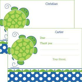 Turtle Party Personalized Thank You Note (each)