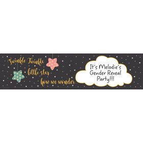 Twinkle Twinkle How We Wonder Gender Reveal Personalized Banner (Each)