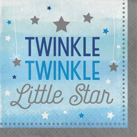 Twinkle Twinkle Little Star Blue Lunch Napkins (16)