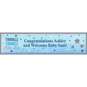Twinkle Twinkle Little Star Blue Personalized Banner (Each)