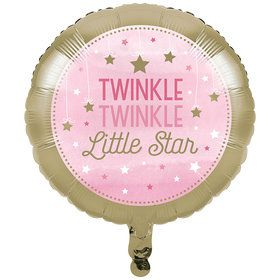 Twinkle Twinkle Little Star Pink Foil Balloon