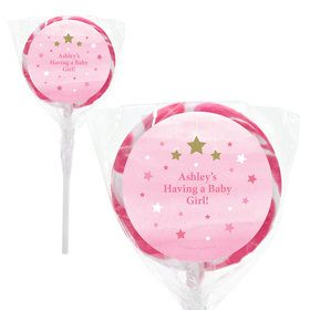 "Twinkle Twinkle Little Star Pink Personalized 2"" Lollipops (20 Pack)"
