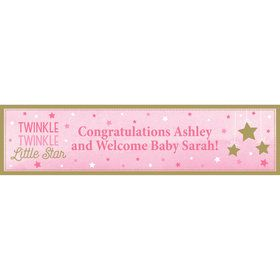 Twinkle Twinkle Little Star Pink Personalized Banner (Each)