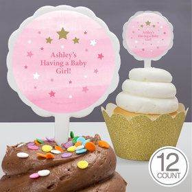Twinkle Twinkle Little Star Pink Personalized Cupcake Picks (12 Count)
