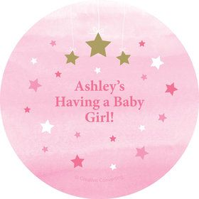 Twinkle Twinkle Little Star Pink Personalized Mini Stickers (Sheet of 24)