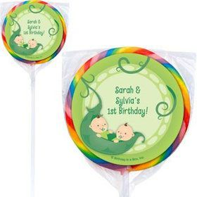 Twin's 1st Birthday Personalized Lollipops (pack of 12)