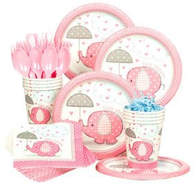 Umbrellaphants Pink Baby Shower Standard Tableware Kit (Serves 8)