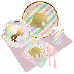 Unicorn Sparkle 1st Birthday Party Pack for 8
