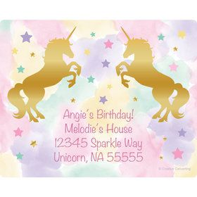 Unicorn Sparkle Personalized Address Labels (Sheet of 15)