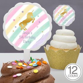 Unicorn Sparkle Personalized Cupcake Picks (12 Count)