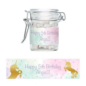 Unicorn Sparkle Personalized Glass Apothecary Jars (12 Count)