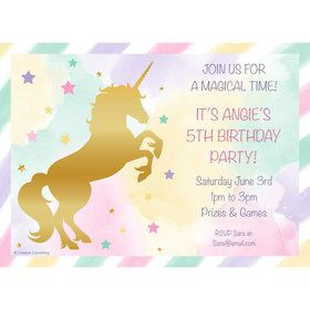 Unicorn Sparkle Personalized Invitation (Each)