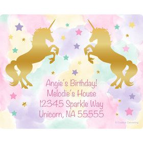 Unicorn Sparkle Personalized Rectangular Stickers (Sheet of 15)