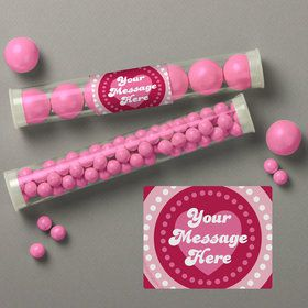 Valentine Hearts Personalized Candy Tubes (12 Count)