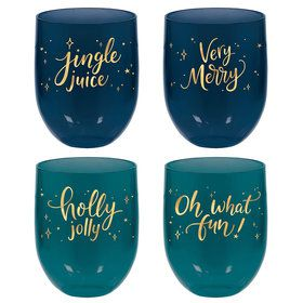 Very Merry Stemless Wine Glasses (4)