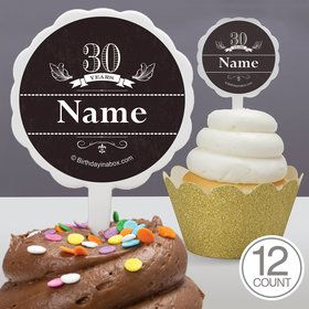 Vintage Dude 30 Personalized Cupcake Picks (12 Count)