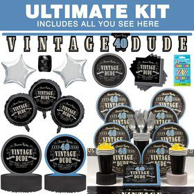Vintage Dude 40th Birthday Party Ultimate Tableware Kit Serves 8