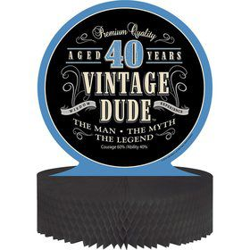 Vintage Dude 40th Honeycomb Centerpiece (Each)