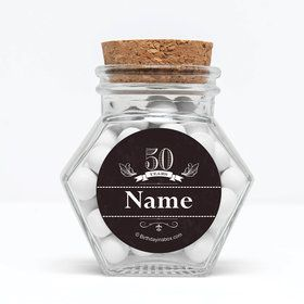 """Vintage Dude 50 Personalized 3"""" Glass Hexagon Jars (Set of 12)"""