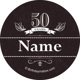 Vintage Dude 50 Personalized Mini Stickers (Sheet of 24)