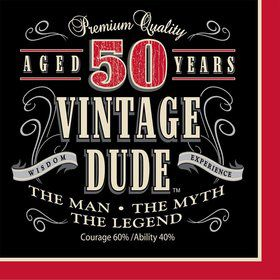 Vintage Dude 50th Luncheon Napkins (16 Pack)