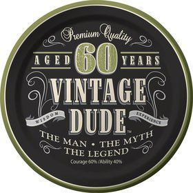 "Vintage Dude 60th Cake Plates 7"" (8 Pack)"