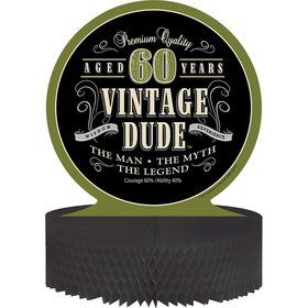 Vintage Dude 60th Honeycomb Centerpiece (Each)