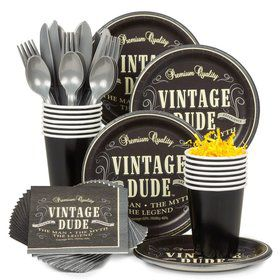 Vintage Dude Standard Tableware Kit (Serves 8)