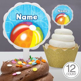 Water Fun Personalized Cupcake Picks (12 Count)