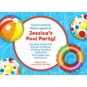 Water Fun Personalized Invitation (Each)