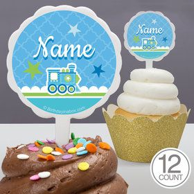 Welcome Baby Boy Personalized Cupcake Picks (12 Count)