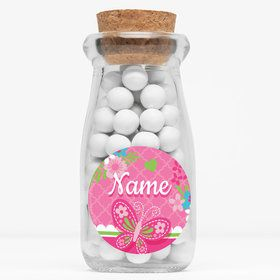 """Welcome Baby Girl Personalized 4"""" Glass Milk Jars (Set of 12)"""