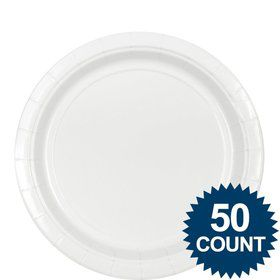 "White 9"" Paper Plate, 50 ct."