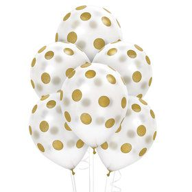 White and Gold Dots Latex Balloons