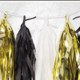 White, Black, and Gold Tissue Tassel 9' Garland