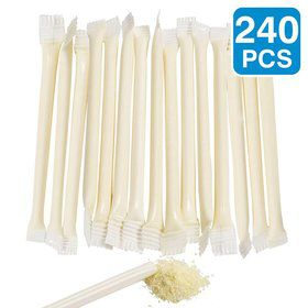 "White Candy Filled 6"" Straws (240 Pack)"