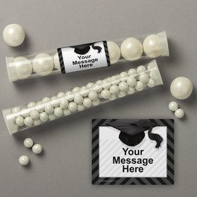 White Caps Off Graduation Personalized Candy Tubes (12 Count)