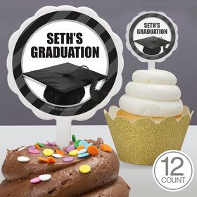 White Caps Off Graduation Personalized Cupcake Picks (12 Count)