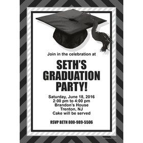 White Caps Off Graduation Personalized Invitation (Each)