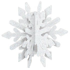 White Glitter 3-D Snowflake Decoration