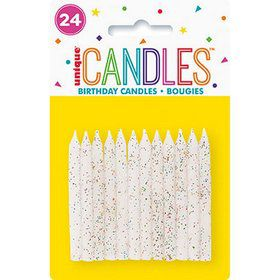 White & Glitter Spiral Candle (24)