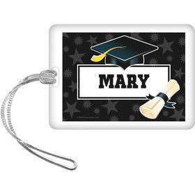 White Grad Personalized Bag Tag (Each)